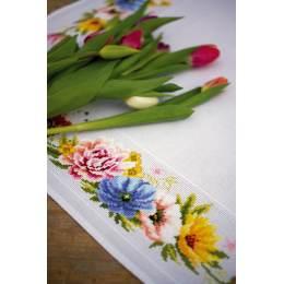 Kit nappe aïda fleurs colorées - 4
