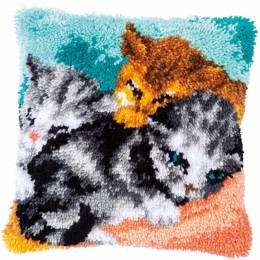 Kit coussin au point noué trois chats - 4