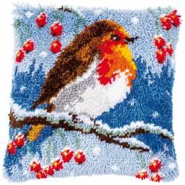 Kit coussin au point noué rouge-gorge en hiver - 4