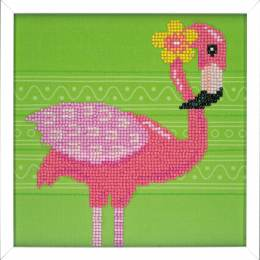 kit Diamond painting flamant rose + cadre 24x24 cm - 4