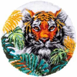 Kit tapis modelé au point noué tigre aux feuilles - 4