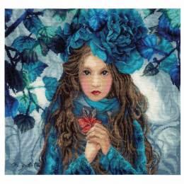 Kit point compté blue flowers girl - 4