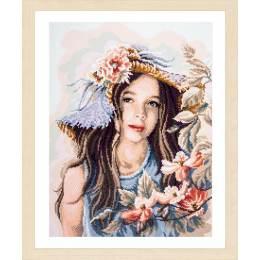 kit Diamond painting fille avec chapeau - 4