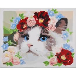 Kit peinture par numéro ragdoll couronne de fleurs - 4