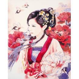 Kit peinture par numéro dame asiatique en rose - 4