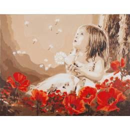Kit peinture par numéro fille dans un champ pavot - 4
