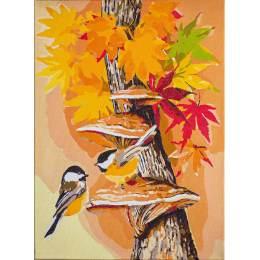 Kit peinture par numéro mésanges en automne - 4