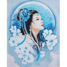 Kit peinture par numéro asian lady in blue - 4