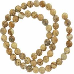 Perle jaspe paysage ronde 6mm sur fil de 40cm - 408