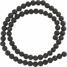 Perle pierre de lave 6mm sur fil de 37cm - 408