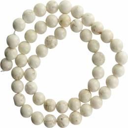 Perle turquoise blanche 8mm sur fil de 40cm - 408
