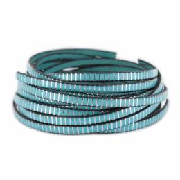 Cuir turquoise strie argenté - 408