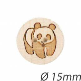 Bouton enfant en bois panda gravé - 408