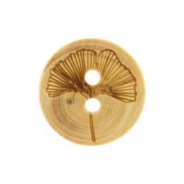 Bouton fleur gravée en bois - 408