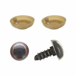 Yeux à clipser en 12mm marrons x5 paires - 408