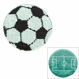 Motif à coudre paillettes rév ballon de foot 12xcm - 408