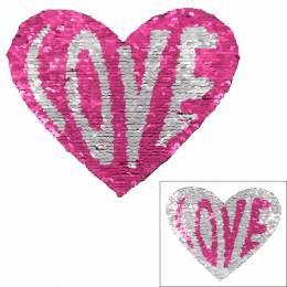 Motif paillette réversible coeur love rose - 408