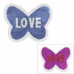 Motif paillette réversible papillon love - 408