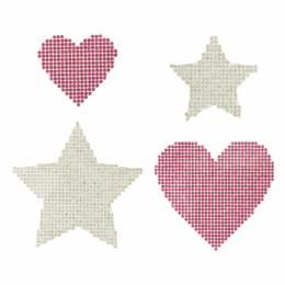 Lot de motifs strass par 4 (étoiles et cœurs) - 408