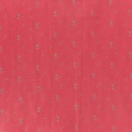 Tissu double gaze coquelicot fleur argent - 44