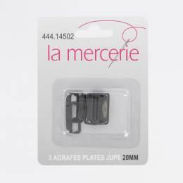 Agrafe plate jupe 20mm noir x3 - 444