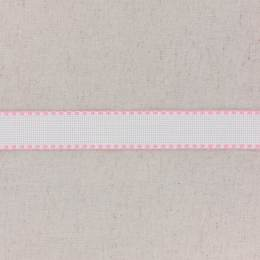 Bande aïda blanc bordée rose - 458