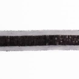 Galon mini sequins sur tulle noir - 408