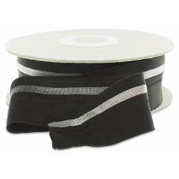 Élastique lurex pré-plié 40mm noir argent - 465