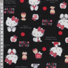 Tissu Hello Kitty bear dot noir - 468