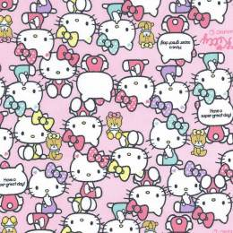 Tissu Hello Kitty pause rose - 468
