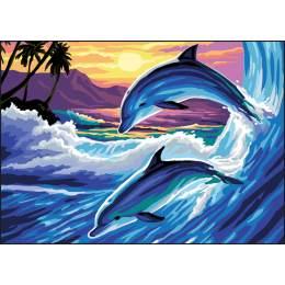 Canevas Luc antique 32/50 dauphins - 47