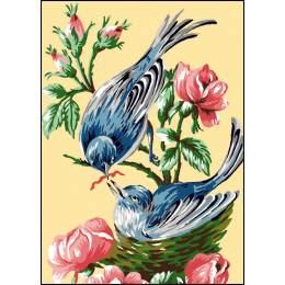 Canevas Luc antique 32/50 x 2 oiseaux - 47