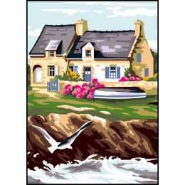 Canevas Luc antique 32/50 x 2 maison bretonne - 47