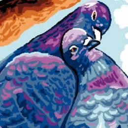 Canevas Luc antique 32/50 x 2 Pigeons - 47