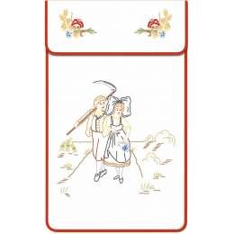 Cache torchon coton blanc balade alsacienne - 47