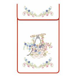 Cache torchon coton blanc bordé - 47