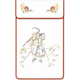 Cache torchon bordé coton blanc balade alsacienne - 47