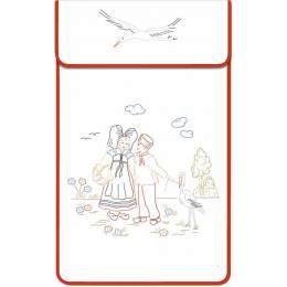 Cache torchon gansé coton blanc couple alsacien - 47