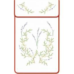 Cache torchon gansé coton blanc lavande et olivier - 47