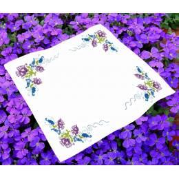 Kit surnappe imprimée et ourlée Fleurs mauves - 47