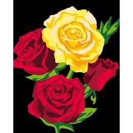 Kit canevas blanc 20/25cm roses - 47