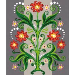 Kit canevas blanc 25/30cm Motif floral - 47