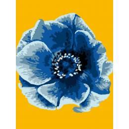 Kit canevas blanc 25/30cm Fleur bleu - 47