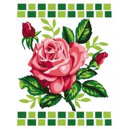 Kit canevas blanc 25/30cm Roses - 47