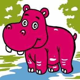 Kit canevas soudan 20/20cm Hippopotame - 47