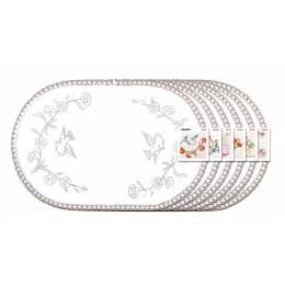 Lot 6 ovale 35/50 100%coton blanc bd - 47