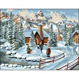 Canevas Luc antique 50/65 bonhomme de neige - 47