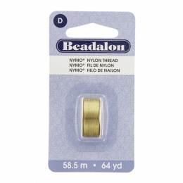 Fil pour perle nymo beadalon 0,30 doré 58,5m - 481