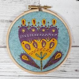 Kit tambour appliqué folklore fleur retro - 490