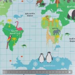 Tissu Fryett's enduit carte du monde - 492
